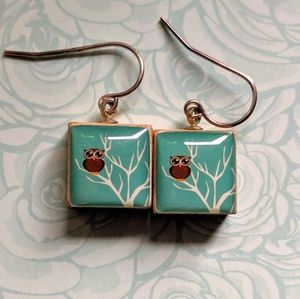 Jewelry - Unique Wooden Teal w/Brown Owl on Tree Earrings